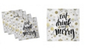 """Ambesonne Eat Drink and Be Merry Set of 4 Napkins, 12"""" x 12"""""""