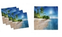"""Ambesonne Ocean Palm Trees Set of 4 Napkins, 12"""" x 12"""""""