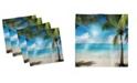 "Ambesonne Tropical Beach Set of 4 Napkins, 12"" x 12"""