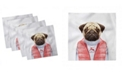 "Ambesonne Pug Set of 4 Napkins, 18"" x 18"""