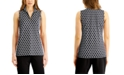 Charter Club Printed Half-Zip Sleeveless Top, Created for Macy's