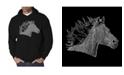 LA Pop Art Men's Horse Mane Word Art Hooded Sweatshirt