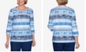 Alfred Dunner Plus Size Three Quarter Sleeve Biadere Shimmer Knit Top