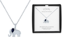 """Macy's Lab-Created Sapphire (1/2 ct. t.w.) & Diamond Accent Elephant Pendant Necklace in Sterling Silver, 16"""" + 2"""" extender"""