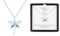 """Macy's Lab-Created Opal (5x2 mm), Blue Topaz (1/10 ct. t.w.) & Diamond Accent Dragonfly Pendant Necklace in Sterling Silver, !6"""" + 2"""" extender"""