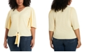 1.STATE Trendy Plus Size Flounce-Sleeve Tie-Front Top