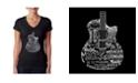 LA Pop Art Women's Word Art V-Neck Languages Guitar T-Shirt