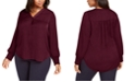 Alfani Plus Size V-Neck Smocked-Sleeve Swing Blouse, Created for Macy's