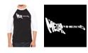 LA Pop Art Metal Head Men's Raglan Word Art T-shirt