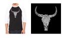 LA Pop Art Texas Skull Men's Raglan Word Art T-shirt