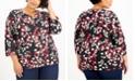 Karen Scott Plus Size Printed 3/4-Sleeve Henley, Created for Macy's