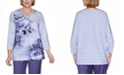 Alfred Dunner Women's Plus Size Wisteria Lane Asymmetric Floral Textured Top