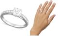 Swarovski Rhodium-Plated Round-Cut Clear Crystal Ring