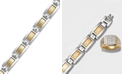 Macy's Men's Inlay Diamond Bracelet (1/5 ct. t.w.) in Stainless Steel and 18k Gold
