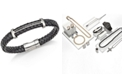 Esquire Men's Jewelry Diamond (1/4 ct. t.w.) T-Bar Bracelet in Black Leather and Stainless Steel, Created for Macy's