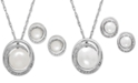 Macy's Cultured Freshwater Pearl (7 & 8mm) and Diamond Accent Pendant Necklace and Earrings Set in Sterling Silver