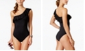 La Blanca Flirtatious Ruffle Tummy-Control One-Shoulder One-Piece Swimsuit