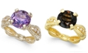 Macy's Amethyst (3-1/2 ct. t.w.) & Diamond (1/10 ct. t.w.) Ring in 14k Gold-Plated Sterling Silver (Also Available In Smoky Quartz)