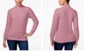 Karen Scott Cable-Knit Faux-Pearl-Button Sweater, Created for Macy's