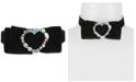Betsey Johnson Hematite-Tone Crystal Black Velvet Bow Choker Necklace