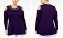 Belldini Plus Size Lace-Up Cold-Shoulder Top