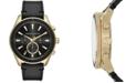 A|X Armani Exchange Men's Chronograph Black Leather Strap Watch 46mm