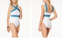 Kenneth Cole Stompin' In Stilettos One-Piece Illusion-Striped Swimsuit