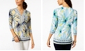 JM Collection Petite Printed Embellished Tunic, Created for Macy's