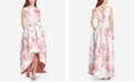 Tahari ASL Floral-Print Jacquard High-Low Gown