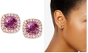 Macy's Pink Sapphire (1 ct. t.w.) & Diamond (1/6 ct. t.w.) Stud Earrings in 14k Rose Gold