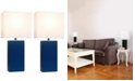 All The Rages Elegant Designs 2 Pack Modern Leather Table Lamps with White Fabric Shades