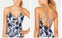 Lucky Brand On The Grid Printed Tankini Top, Available in D Cup