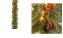 """National Tree Company 9'x12"""" Cashmere Berry Collection Garland with 11 Cones, 11 Red Berries & 70 Clear Lights"""