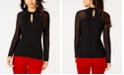 INC International Concepts I.N.C. Twist Keyhole Mesh-Sleeve Top, Created for Macy's