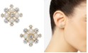 "Charter Club Extra Small Gold-Tone Crystal & Imitation Pearl Snowflake Stud Earrings, .5"", Created for Macy's"
