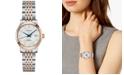 Longines Women's Swiss Automatic Record Diamond-Accent Stainless Steel & 18k Rose Gold Cap 200 Bracelet Watch 30mm