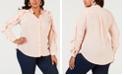 NY Collection Plus Size Ruffle-Sleeve Shirt