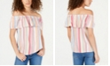 INC International Concepts I.N.C. Petite Ruffled Rainbow Off-The-Shoulder Top, Created for Macy's
