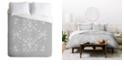 Deny Designs Iveta Abolina White Floral Gray II Queen Duvet Set