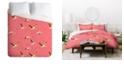 Deny Designs Holli Zollinger Flamingo Crush Queen Duvet Set