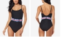 Jessica Simpson Ribbed Belted One-Piece Swimsuit