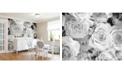 Brewster Home Fashions Grey Petals Wall Mural