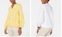 Tommy Hilfiger Linen Blouson-Sleeve Top, Created for Macy's