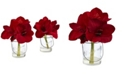 Nearly Natural Amaryllis in Glass Vase, Set of 2