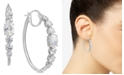Eliot Danori Silver-Tone Crystal Medium Hoop Earrings , Created for Macy's