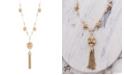 Catherine Malandrino Women's White Rhinestone Flower Design Yellow Gold-Tone Tassel Necklace