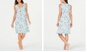Miss Elaine Flower-Print Ruffled Hem Short Nightgown