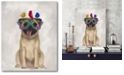 """Courtside Market Pug and Flower Glasses Gallery-Wrapped Canvas Wall Art - 16"""" x 20"""""""