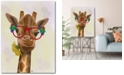 """Courtside Market Giraffe and Flower Glasses 3 Gallery-Wrapped Canvas Wall Art - 18"""" x 24"""""""