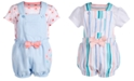 First Impressions Baby Girls 2-Pc. Top & Striped Shortall Set, Created for Macy's
